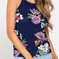 Navy Sleeveless Floral Print Halter Back Top