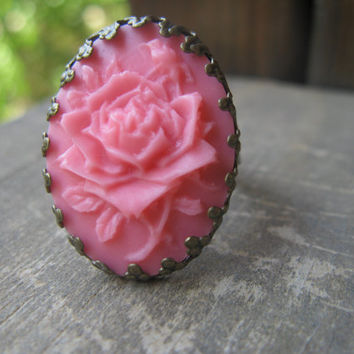 antique bronze cabochon ring,pink cabochon ring,pink resin cobochon ring