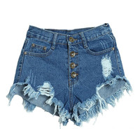 Women's Slim Fit Comfortable High Waist Ripped Denim Shorts Blue