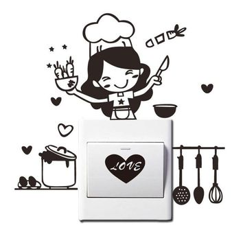 Lady Cooking Design Home Switch Sticker decal LOVE Kitchen Swtich decoration Sticking Poster On/Off Wall Sticker LOVE Chef sale