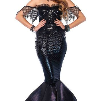 Deep Underwater Black Sequin Sheer Fishnet Mesh Short Sleeve Off The Shoulder Glitter Maxi Dress Halloween Costume