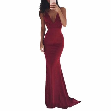 Adogirl 2018 Elegant Backless Long Dress Women Evening Summer Eve Party Sexy  Maxi Dresses Vestidos Party Gown