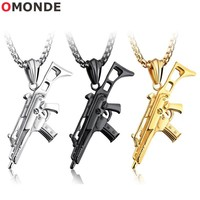 OMONDE Gold Silvery Black Color Stainless Steel Gun Pendant Necklaces 60 cm 24 inch Long Box Link Chains Men Punk Rifle Jewelry