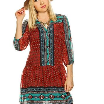 BeBop Aztec Peasant Dress