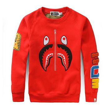Bape 2018 new tide brand men and women couple round neck loose hooded sweater F-A-KSFZ red