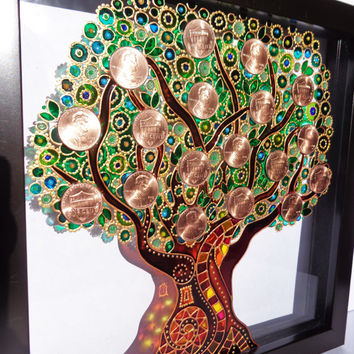 Money tree art Glass painting Wall decor