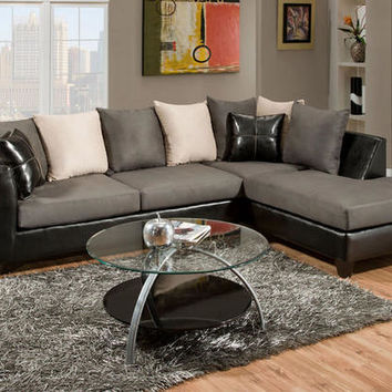 Lanzo 2 Pc. Gray Sectional - Sectionals - Living Room - mobile