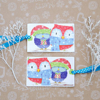 Happy Owls Bookmarks - Set of 2 Handmade Bookmarks with winter owls