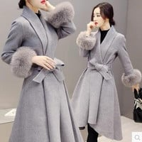 Korean Slim Wool Coat Jacket [9374891914]