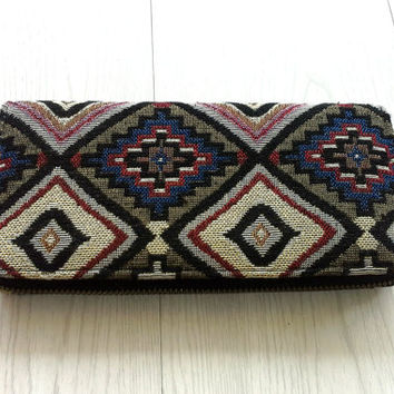 Tribal Tapestry Long Wallet, Handmade Womens Zippered Wallet clutch, Beautiful Geometric iPhone case wallet, Travel wallet, YKK Metal zipper