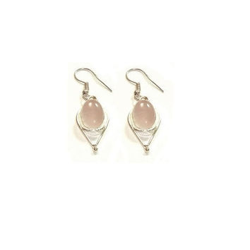 Rose Quartz  Earring ,   Sterling Silver Earrings , Gift For Her