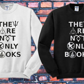 They Are Not Only Books Crewneck Sweater   Available Size S,M,L,XL,XXL color black and white