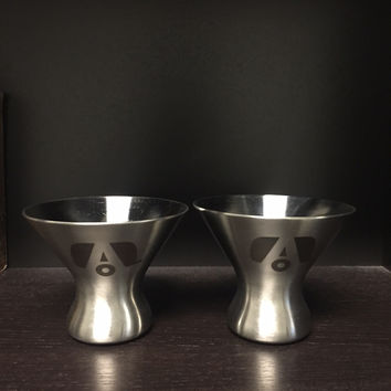 """Airstream Stainless Stemless Martini """"Glass"""" with Logo"""