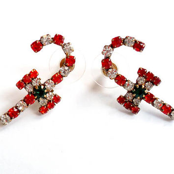 Rhinestone Candy Cane Earrings Vintage Pierced Post Back Red Clear Green Glass Sparkle Christmas Holiday Festive Ugly Sweater Accessories