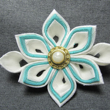 Designer Dog Collar Flower - Wedding White and blue Silk kanzashi Flower - Wedding dog collar flower