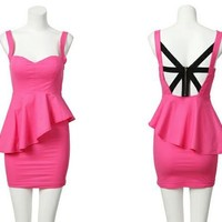 Pink Lotus Cute Back Zipper Cutout
