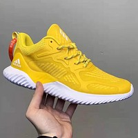 Adidas AlphaBounce HPC AMS Fashion New Reflective Women Men Running Shoes Yellow