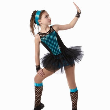 MOVE IT Biketard & Socks & Mitts Tap Dance Costume Child X-Small 2-3yr
