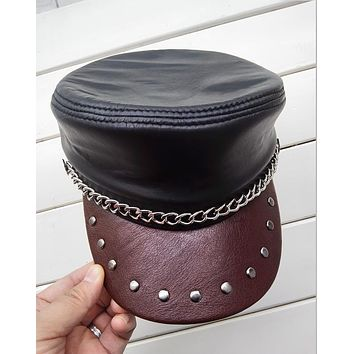 Genuine Leather Biker Cap with Chain and Brown Rivet Bill