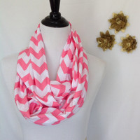 Pink Chevron Infinity scarf, Infinity scarf, loop scarf, jersey knit, bridesmaid monogrammed gift, jersey infinity scarf, sorority scarf
