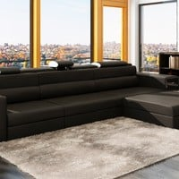 Divani Casa Polaris Mini - Contemporary Black Bonded Leather Sectional Sofa