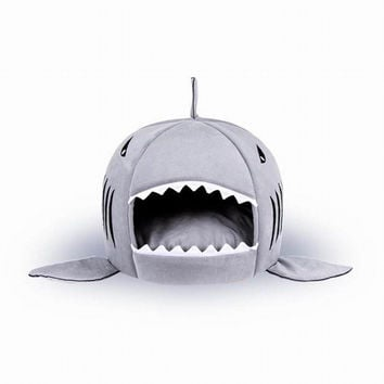 New Shark Shape Pets Beds Warm Soft Dog and Cat House