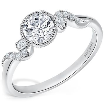"Kirk Kara ""Angelique"" Petite Scroll Halo Diamond Engagement Ring"