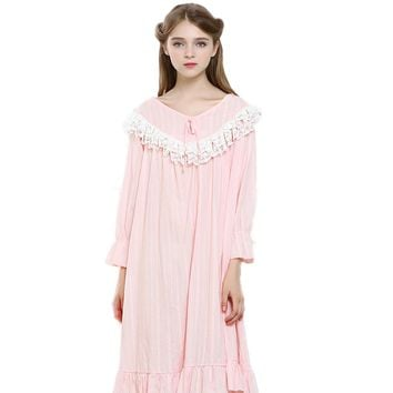 New Arrival Spring 100% Cotton Long Nightgown Vintage Princess Sleeowear 2017 Lace Lotus Leaf Medieval Chemise Dresses YC144