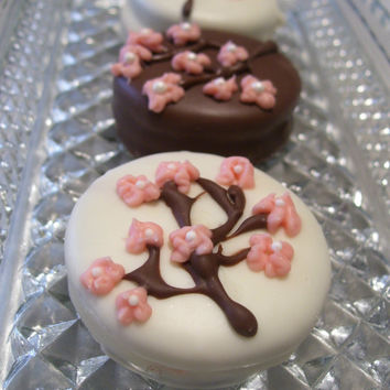 Cherry Blossom Chocolate Covered Oreos Wedding Favors Birthday Party Baby Shower 1 dozen