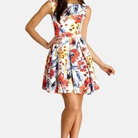 Women's Donna Morgan Floral Print Twill Fit & Flare Dress