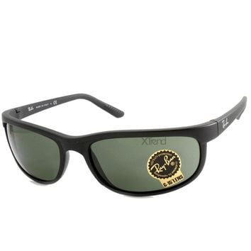 Ray-Ban RB2027 W1847 Predator 2 Matte Black/Green Sports Wrap-Around Sunglasses