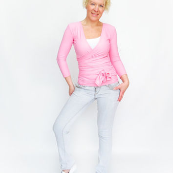 Pink wrap top yoga convertible top pink spring shirt wraptop