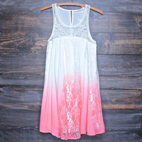 vanity vintage lace flowy dress - neon ombre pink
