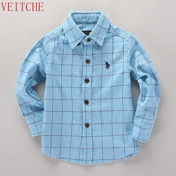 2017 children long sleeve shirt Turn-down Collar plaid shirts boys fashion england style 100% cotton kids cool clothes 100-160cm