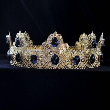 Gold Black Male King Crown Cosplay, Game of Thrones Renaissance Medieval