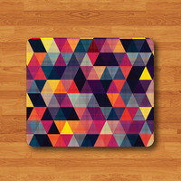 Triangle Geometric Colorful Abstract Pattern Mouse Pad Black Drawing Desk Deco Rubber Gift Vintage Gift