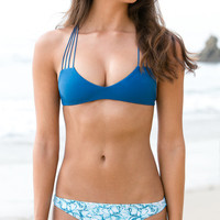 The Girl and The Water - Mikoh Swimwear - Banyans Bikini Top / Deep Sea - $100