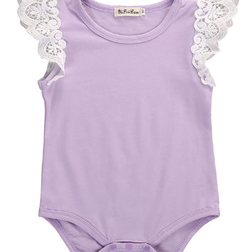 Lace Newborn Baby Girl Clothes Short Sleeve Romper Candy Color Jumpsuit Playsuit Toddler Romper Outfits