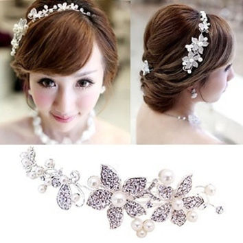 Colour bride pearl soft chain hair accessory white rhinestone flower hair accessory wedding accessories marriage accessories