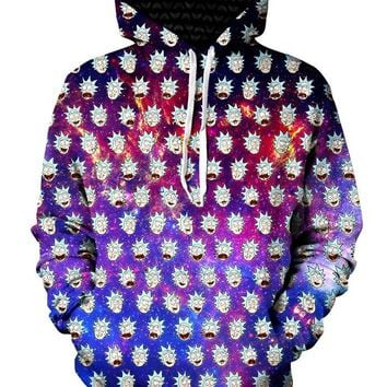 Faces Of Rick Pullover Trippy Art Hoodie