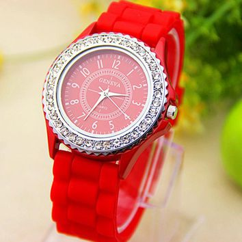 Sparkly Silky Silicone Watch in Red