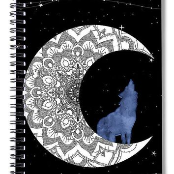 Moon Wolf Stars - Spiral Notebook