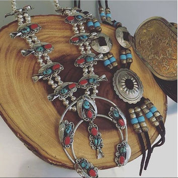 Genuine Turquoise Squash Blossom Necklace Bracelet and Earrings SET   Navajo Jewelry Coral Turquoise Real Silver Naja Necklace Southwestern