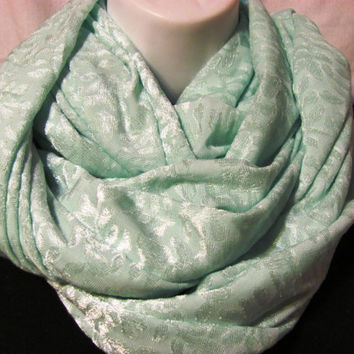 Soft Seafoam Infinity Scarf by GBSCreations on Etsy