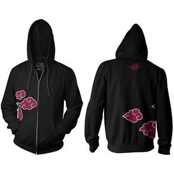 Naruto Red Clouds Side Logo Licensed Adult Zip Hoodie  Sweatshirt - Black