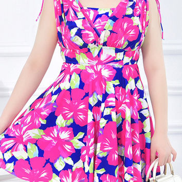 Plus Size Conservative Floral Blooming Pattern Elastic Bathing Suits Swimdresses