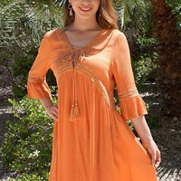 Taking You Uptown Pumpkin Orange Lace Up Swing Dress
