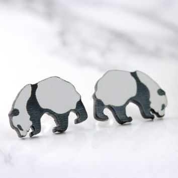 panda bear stud earrings, black and white, sterling silver