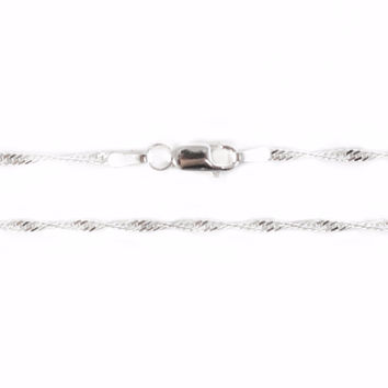 "1.8mm Pure Silver Plated Singapore Chain, 18"", 2 Pieces"