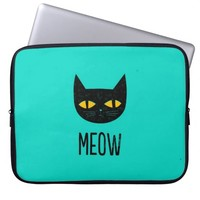 Funny Cute Cool Turquoise Black Cat Meow Laptop Computer Sleeve